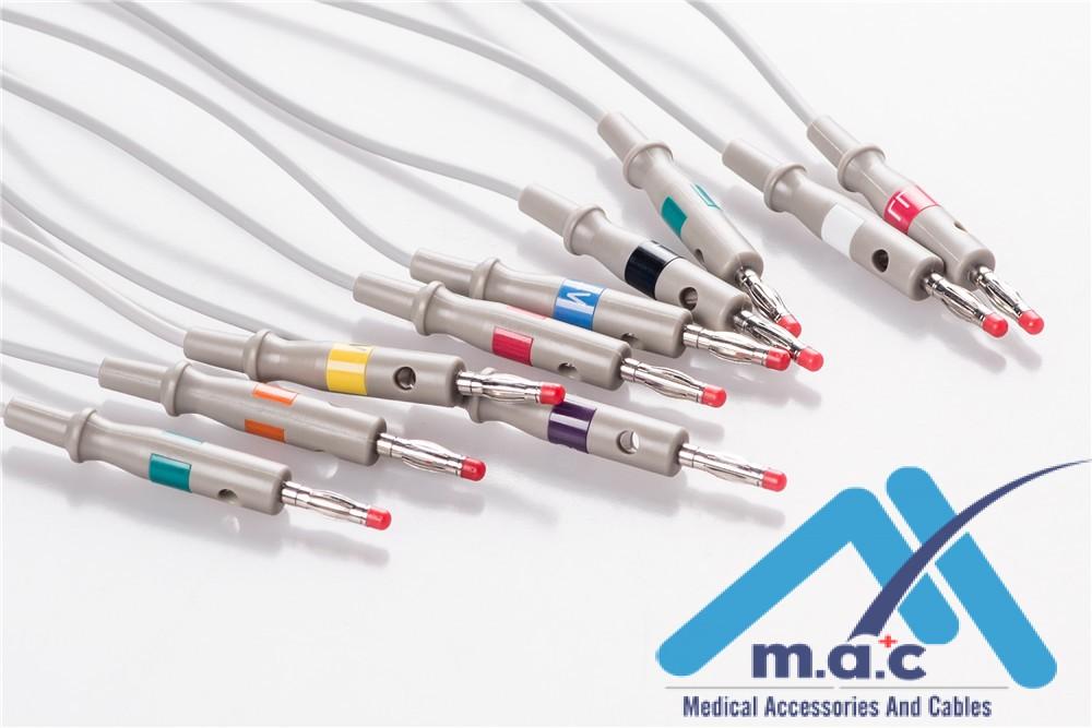 Burdick Compatible One Piece Reusable EKG Cable - AHA - 012-0700-00