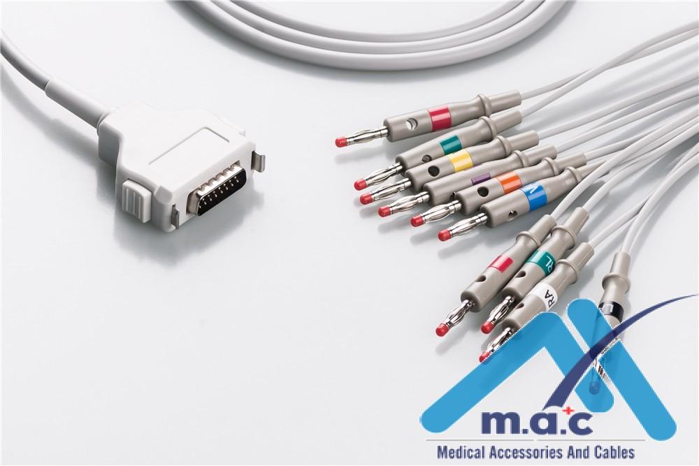 Fukuda Compatible One Piece Reusable EKG Cable - AHA