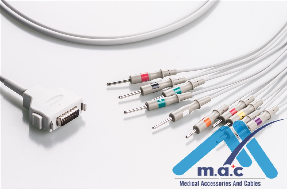 Fukuda Compatible One Piece Reusable EKG Cable - AHA - CP-101LD