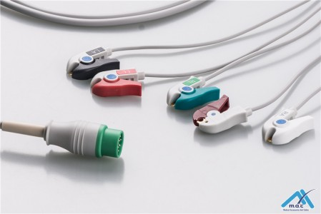Compatible Resuable One Piece ECG Fixed Cable 25M80P