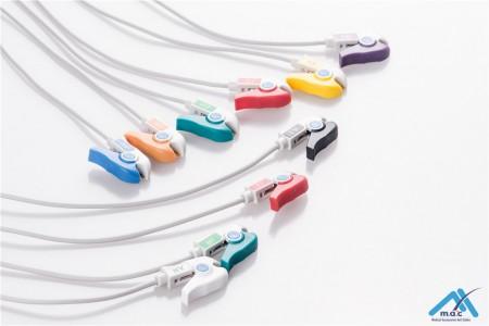 Burdick Compatible One Piece Reusable EKG Cable - AHA