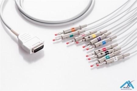 Burdick Compatible One Piece Reusable EKG Cable - AHA - 7704