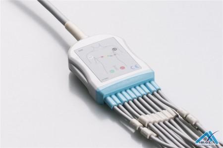 Burdick Compatible One Piece Reusable EKG Cable - AHA - 7725