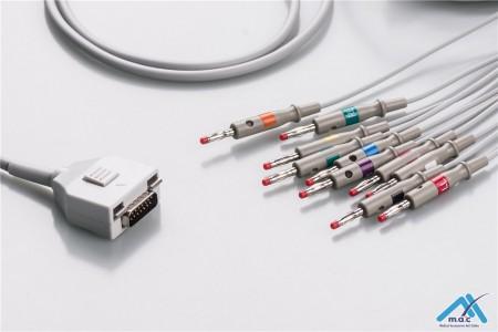 Fukuda me Compatible One Piece Reusable EKG Cable - AHA