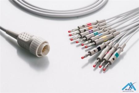 Kenz Compatible One Piece Reusable EKG Cable - AHA - PC-104