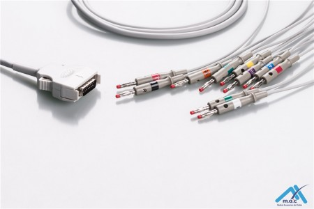 Mortara Compatible One Piece Reusable EKG Cable - AHA - 9293-021-50