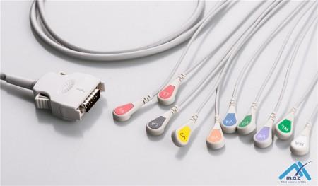 Mortara Compatible One Piece Reusable EKG Cable - AHA