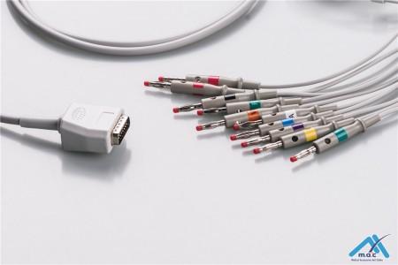 Nihon Kohden Compatible One Piece Reusable EKG Cable - AHA - 45502-NK