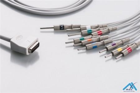 Nihon Kohden Compatible One Piece Reusable EKG Cable - AHA