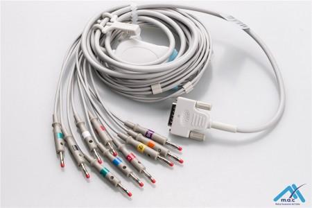 Nihon Kohden Compatible One Piece Reusable EKG Cable - AHA - BA-902D