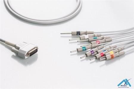 Nihon Kohden Compatible One Piece Reusable EKG Cable - AHA - BA-901D