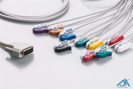 Nihon Kohden Compatible One Piece Reusable EKG Cable - AHA - BA-903D