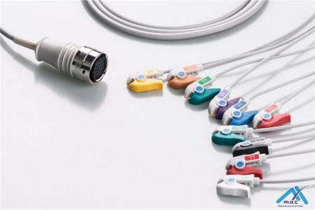 Quinton Compatible One Piece Reusable EKG Cable - AHA