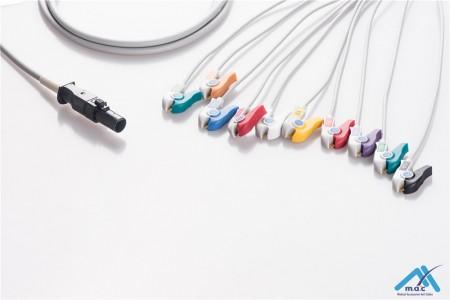 Burdick Compatible One Piece Reusable EKG Cable - AHA - 60-00180-01