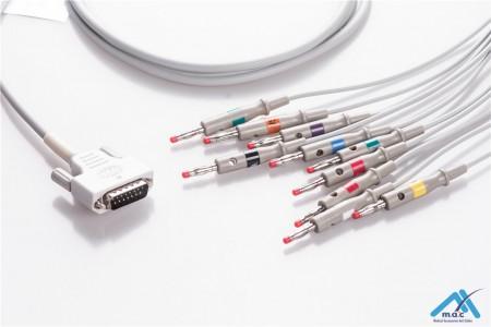 Edan Compatible One Piece Reusable EKG Cable - AHA - 01.57.107048