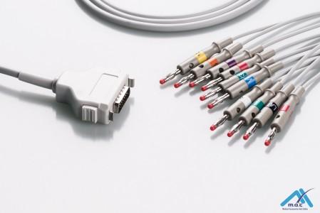 Fukuda Denshi Reusable One Piece EKG Fixed Cable E1M0R-FD1-B/I E1M0R-FD1-B