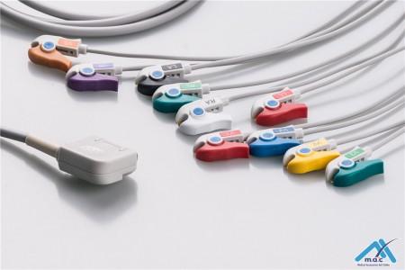 Kenz Compatible One Piece Reusable EKG Cable - AHA
