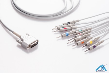 Nihon Kohden Reusable One Piece EKG Fixed Cable E1M0R-NK2-N E1M0R-NK2-N/I